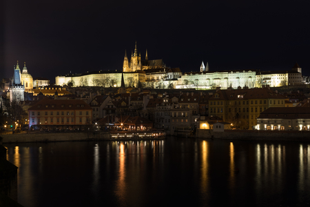 A night view of beautiful old city Prague at winter time Stock Photo