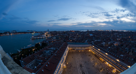 Aerial view of the Venice city scape with Basilica Piazza San Marco and grande canal