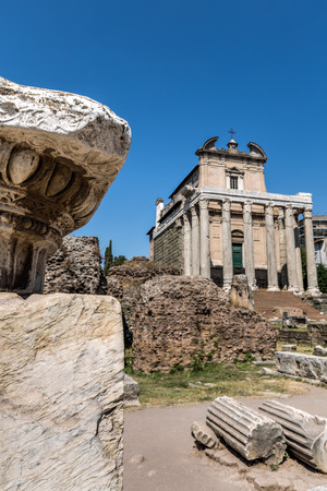 Temple of Antoninus and Faustina in antique Roman Forum (Foro Romano) Rome city, Italy Stock fotó