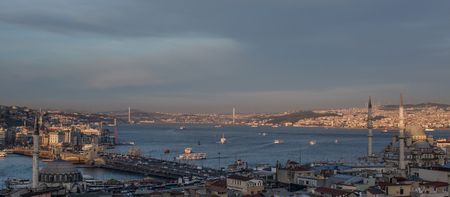 Istanbul city scape and bosporus at evening time Stok Fotoğraf