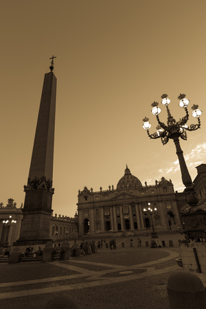 A view Saint Peter Square and Saint Peter Basilica, Vatican at evening time