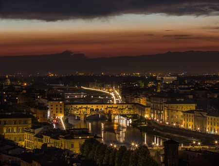 Aerial view of Florence skyline with Duomo, Palazzo vecchio and Arno river Florence, Italy at night