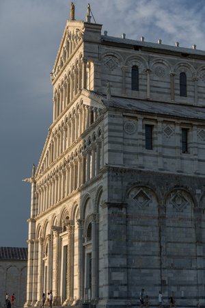 A view of historic Piazza dei Miracoli Complex and Leaning tower of Pisa, Italy