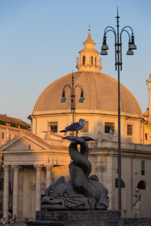 A view of Piazza del Popolo and the churches