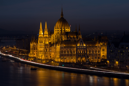 BUDAPEST, HUNGARY - JANUARY 17, 2019 : Aerial view of Danube river and Parliament building in old city Budapest at winter time