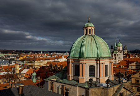 Aerial view of the Old Town architecture with terracotta roofs in Prague , Czech Republic