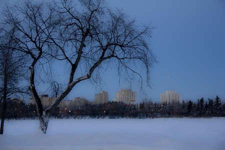 regina: A dark cold winter day by a frozen lake in Regina, Canada Stock Photo