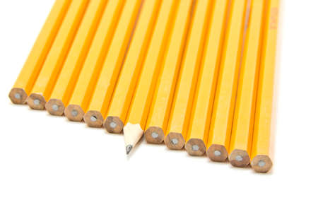 croud: a sharp pencil sticking out form a croud of dull pencils