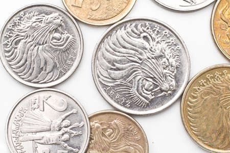 a collection of the different coins of Ethiopian currency including five, ten, twenty five and fifty cents Banco de Imagens