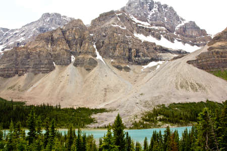 Ice formations on one of the mountains of the Canadian segment of the North American Rocky Mountains range