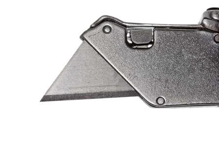 cutter: Closeup shot of a box cutter on a white background