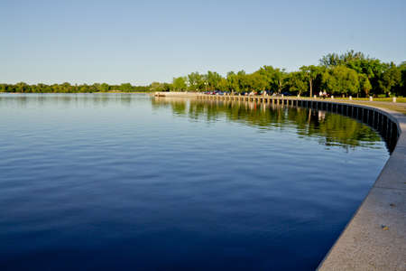 The concrete wall shores of Wascana Lake in Regina, Saskatchewan - Canada