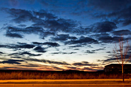 regina: Dark clouds over the sky after sunset on a cold Autumn day in Regina Stock Photo