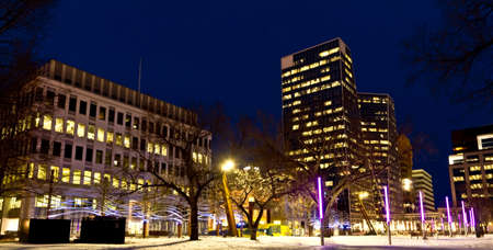 regina: Beautiful downtown regina lit with colorful lights on a clear winter night Editorial
