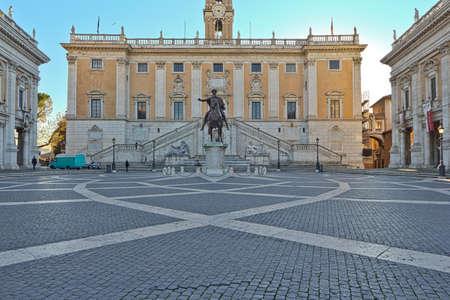 Equestrian Statue of Marcus Aurelius in Rome, Italy Editorial