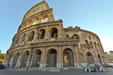 A wide angle shot of the Colosseum in Rome, Italy