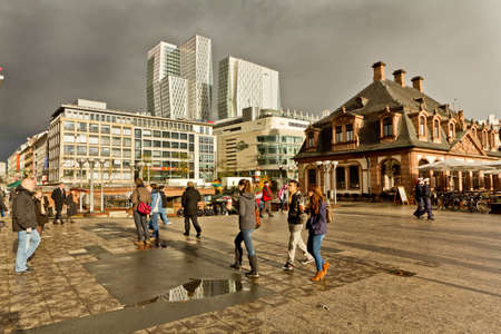 People on the streets of downtown Frankfurt Germany Editorial