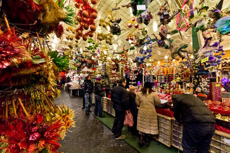 christmas market: A flea market in the streets of Rome during Christmas time.
