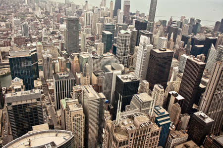 조밀하게 건물을 게재 시카고 도시의 공중보기 스톡 콘텐츠 - 12201041