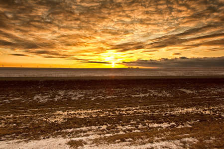 regina: Stormy clouds over the sky during a sunset on a cold winter day in Regina Stock Photo