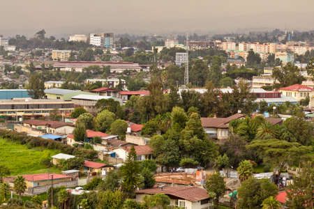 ababa: Aerial view of the city of Addis Ababa, showing the densely packed houses Stock Photo
