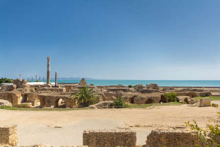 Ruins in ancient Carthage town, in Tunisia with ruins of great buildings, theaters, villas, baths, houses and columns from the great Punic and Roman empires