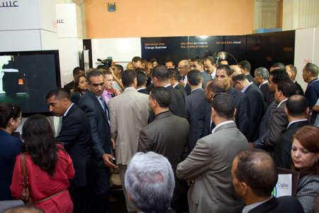 feestelijke opening: Hammamet - 19 september: de heer Hamadi Jebali, hoofd van de Tunesische regering bij de inhuldiging van het ICT4ALL Tentoonstelling gehouden in het congres-en expositiecentrum van Medina-Hammamet Yasmine in Hammamet, Tunesië op 19 september 2012 Redactioneel