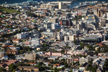 capetown: Aerial view of the city of Capetown showing the densely packed buildings