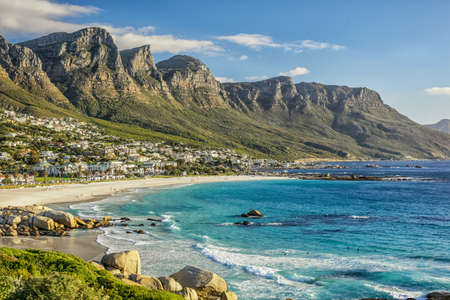 The beautiful city of Cape Town, with its gorgeous mountains white sand beaches and clear blue water photo