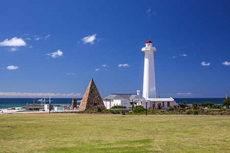 Lighthouse in Port Elizabeth with a small pyramid dedicated for Queen Elizabeth the second
