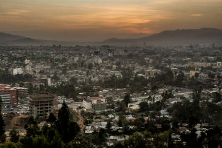 ababa: Aerial view of the city of Addis Ababa during sunset Stock Photo