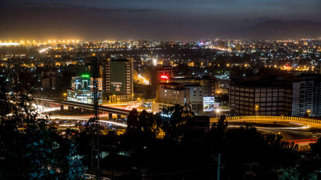 ababa: Aerial view of the city of Addis Ababa at night