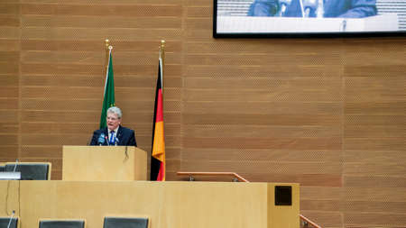 Addis Ababa, Ethiopia – March 18: German President Joachim Gauck delivers his speech to the Council of Permanent Representatives of the AU at the African Union Commission Head Quarters in Addis Ababa, Ethiopia on March 18, 2013