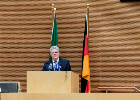 zuma: Addis Ababa, Ethiopia – March 18: German President Joachim Gauck delivers his speech to the Council of Permanent Representatives of the AU at the African Union Commission Head Quarters in Addis Ababa, Ethiopia on March 18, 2013