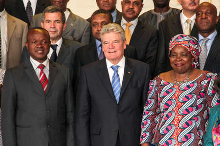 Addis Ababa, Ethiopia – March 18: German President takes a group picture with AU Chairperson and Deputy Chairperson at the AUC Head Quarters in Addis Ababa, Ethiopia on March 18, 2013