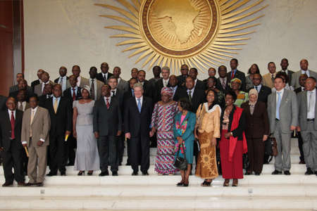 Addis Ababa, Ethiopia ? March 18: German President Joachim Gauck takes a group photograph with senior AU officials at the African Union Commission Head Quarters in Addis Ababa, Ethiopia on March 18, 2013