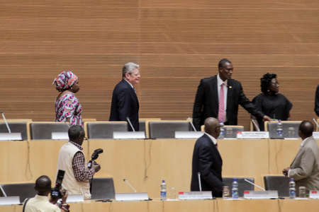 zuma: Addis Ababa, Ethiopia ? March 18: German President Joachim Gauck arrives to meet the Council of Permanent Representatives of the AU at the African Union Commission Head Quarters in Addis Ababa, Ethiopia on March 18, 2013 Editorial