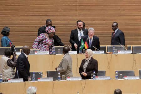zuma: Addis Ababa, Ethiopia ? March 18: German President Joachim Gauck takes his designated seat at the African Union Commission Head Quarters meeting hall in Addis Ababa, Ethiopia on March 18, 2013