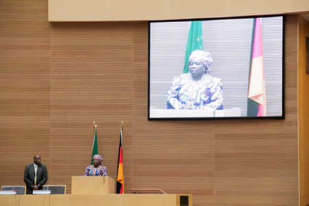 zuma: Addis Ababa, Ethiopia ? March 18: Dr. Nkosazana Dlamini-Zuma, Chairperson of the AUC, gives a welcoming speech to H.E. Joachim Gauck, President of the Federal Republic of Germany  in Addis Ababa, Ethiopia on March 18, 2013