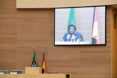 zuma: Addis Ababa, Ethiopia ? March 18:  The master of ceremony introduces H.E. Joachim Gauck, President of the Federal Republic of Germany, to deliver his speech at the African Union Commission Head Quarters in Addis Ababa, Ethiopia on March 18, 2013