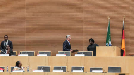 zuma: Addis Ababa, Ethiopia ? March 18: German President Joachim Gauck about to deliver his speech to the Council of Permanent Representatives of the AU at the African Union Commission Head Quarters in Addis Ababa, Ethiopia on March 18, 2013 Editorial