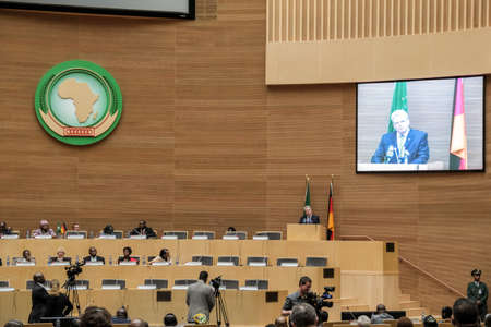 zuma: Addis Ababa, Ethiopia ? March 18: German President Joachim Gauck delivers his speech to the Council of Permanent Representatives of the AU at the African Union Commission Head Quarters in Addis Ababa, Ethiopia on March 18, 2013