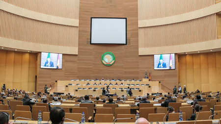 Addis Ababa, Ethiopia ? March 18: German President Joachim Gauck delivers his speech to the Council of Permanent Representatives of the AU at the African Union Commission Head Quarters in Addis Ababa, Ethiopia on March 18, 2013