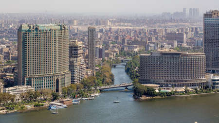 cairo: Aerial view of the city of Cairo along the Nile river