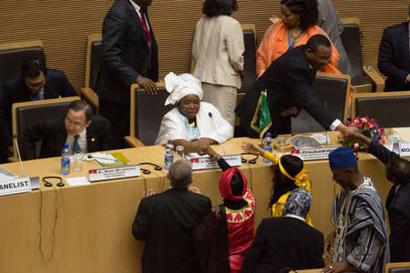 Addis Ababa, Ethiopia ? May 25: H.E. Dr. Nkosazana Dlamini-Zuma, Chairperson of the African Union Commission shaking hands with the Commissioners of the AUC at the opening ceremony of the 50th Anniversary of the OAUAU at the African Union Commission Head