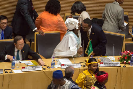 zuma: Addis Ababa, Ethiopia  May 25: H.E. Dr. Nkosazana Dlamini-Zuma greets the Prime minister of Ethopia, Ato Hailemariam, Dessalegn, at the opening ceremony of the 50th Anniversary of the OAUAU at the African Union Commission Head Quarters in Addis Ababa, Et