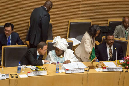 zuma: Addis Ababa, Ethiopia ? May 25: H.E. Dr. Nkosazana Dlamini-Zuma discusses with H.E. Ban Ki-Moon , Secretary General of the UN at the opening ceremony of the 50th Anniversary of the OAUAU at the African Union Commission Head Quarters in Addis Ababa