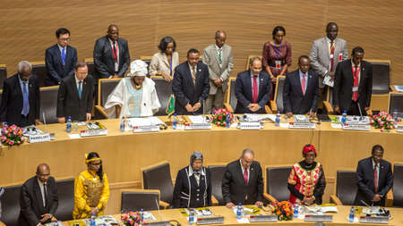 zuma: Addis Ababa, Ethiopia ? May 25: Prime Minister of Ethiopia, UN Secretary General, AUC Chairperson and Commissioners, and Distinguished guests stand up for the AU anthem at the opening ceremony of the 50th Anniversary of the OAUAU at the African Union Com Editorial