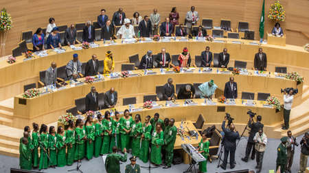 zuma: Addis Ababa, Ethiopia ? May 25: The African Union Choir sing at the opening ceremony of the 50th Anniversary of the OAUAU at the African Union Commission Head Quarters in Addis Ababa, Ethiopia on May 25, 2013.