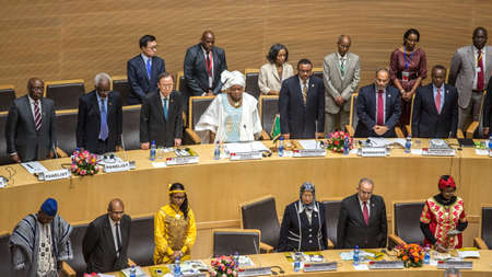 ki: Addis Ababa, Ethiopia ? May 25: Prime Minister of Ethiopia, UN Secretary General, AUC Chairperson and Commissioners, and Distinguished guests stand up for the AU anthem at the opening ceremony of the 50th Anniversary of the OAUAU at the African Union Com Editorial